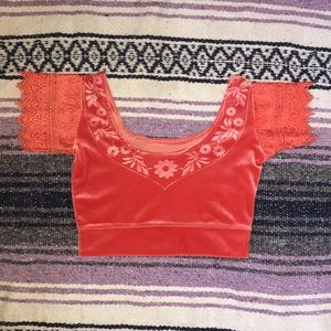 Orange Velvet Crop Top